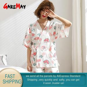 Image 2 - Home Suit White Pajamas Cotton For Women Summer With Print Soft Short Sleeve Top Cute Womens Pajamas Pants Sets Sleepwear