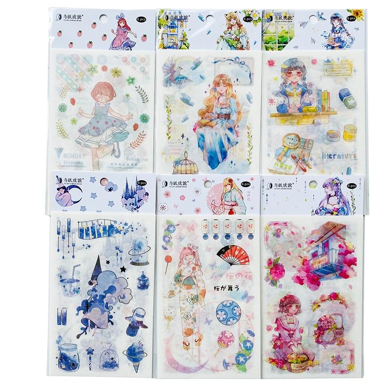 6 Sheets/Pack Fairy Princess Girls Sticker Notebook Computer Phone DIY Decor Washi Stickers