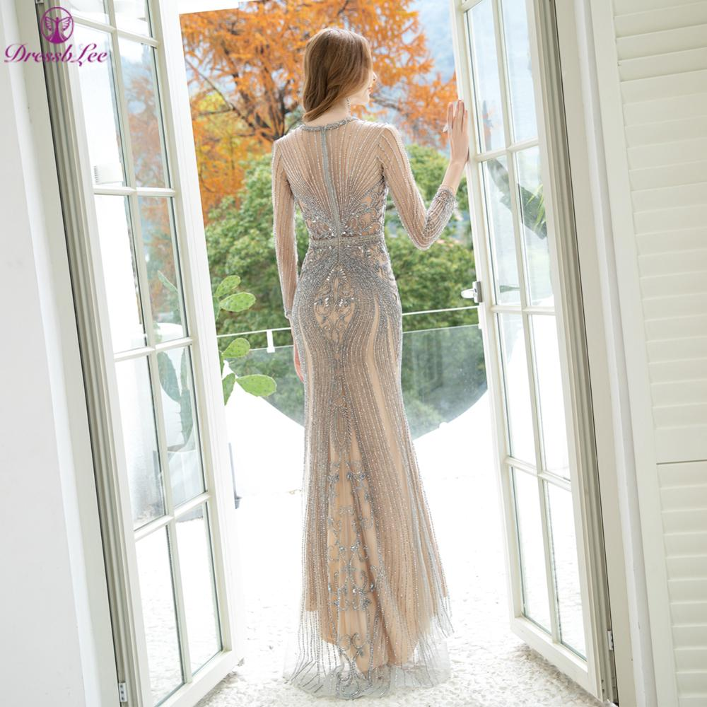 Sparkly Sequined Full Beaded Dubai Mermaid Evening Dress Long Sleeves Transparent Evening Dresses Crystal Stone Formal Gown