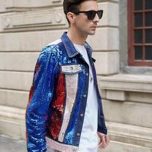 Настоящая мужская джинсовая куртка в американском стиле с блестками и бисером, топ на бедрах/короткая куртка-смокинг/сценическое представление/Азиатский размер