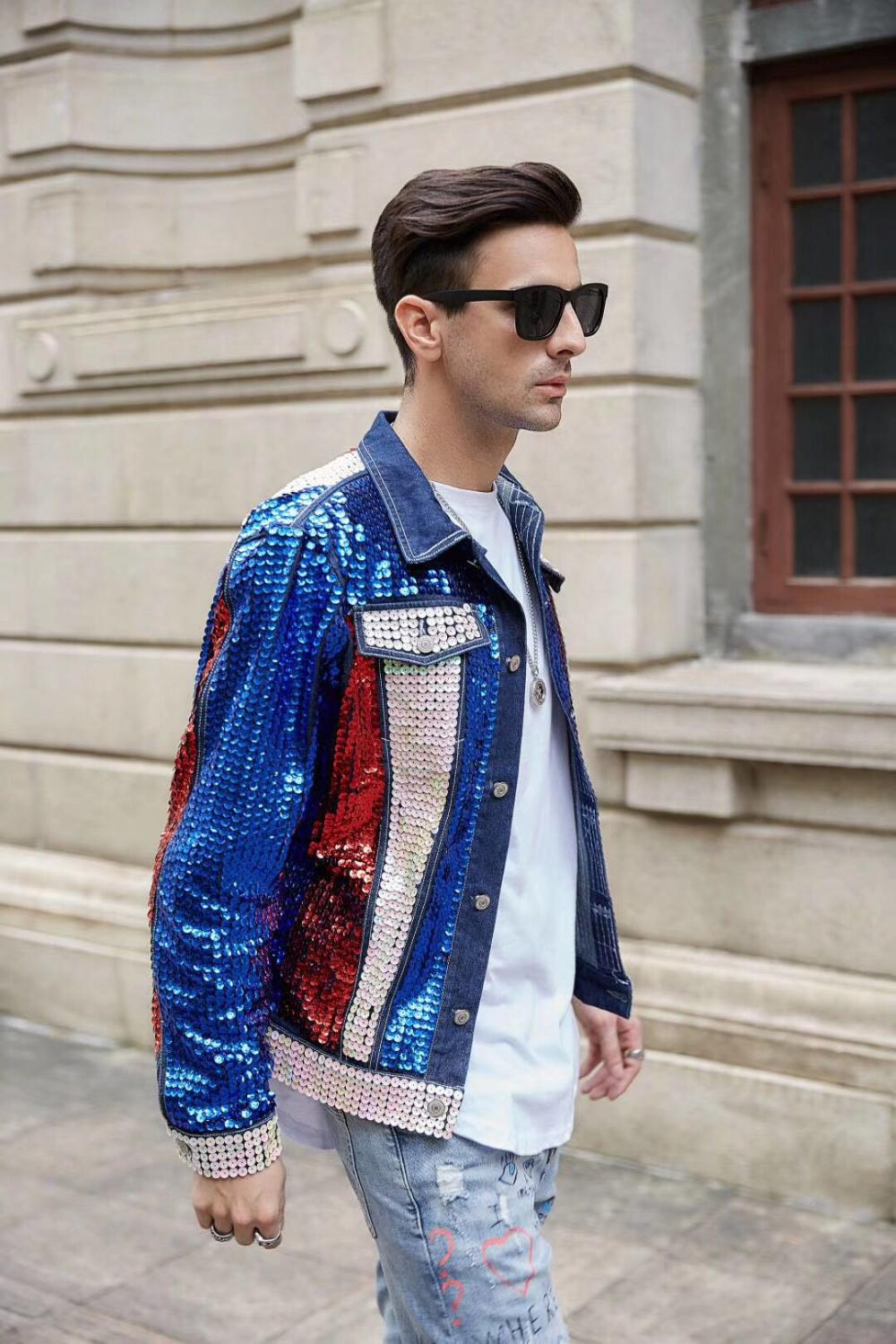 100%real Men U.S Style Full Sequined Beading Jean Jacket Hip Top/short Tuxedo Jacket/stage Performance/ASIA SIZE