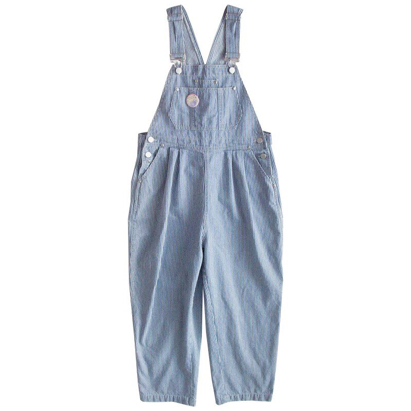 Harajuku Striped Denim <font><b>Jumpsuit</b></font> Women Romper Teenage Girl <font><b>Kawaii</b></font> Loose Jeans Strap Long Pants Korean Cute Ladies Casual Overalls image