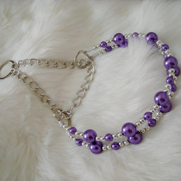 Pet Collar Purple Pearl Neck Ring Collar Dog Neck Ring Neck Ring