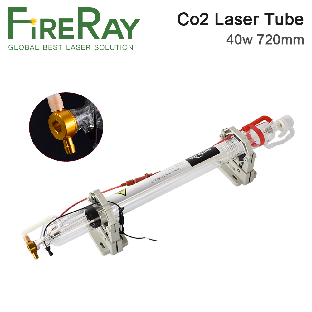 Fireray 40W Co2 Laser Tube Upgraded Metal Head Length 720mm Dia50mm For CO2 Laser Engraving Cutting Machine