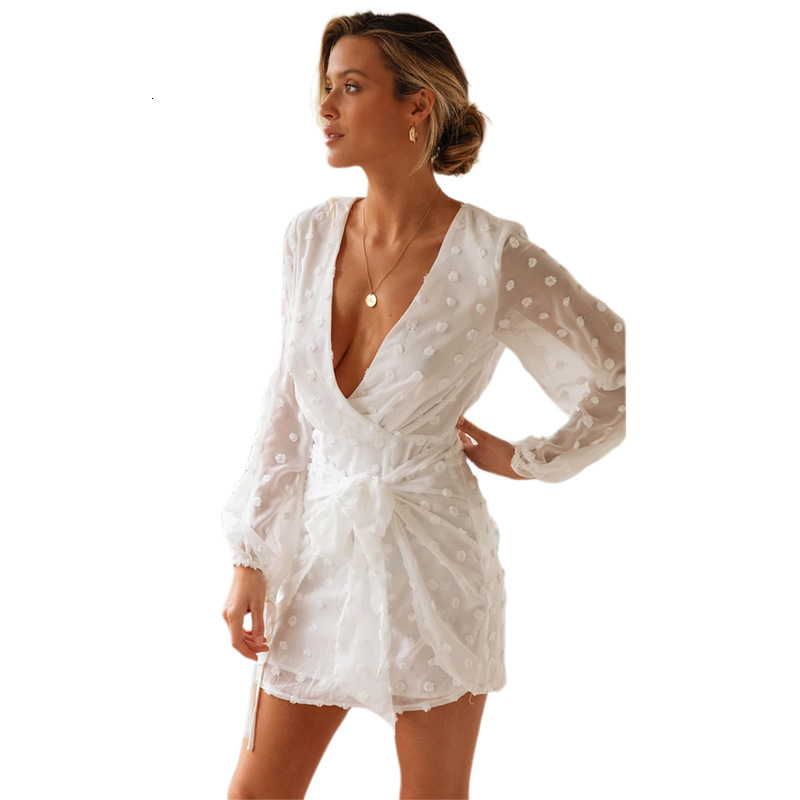 BGW 2020 Chiffon Deep V Neck Mini White Cocktail Dresses Long Sleeves Transparent Hollow Out Back Cocktail Party Women Dresses
