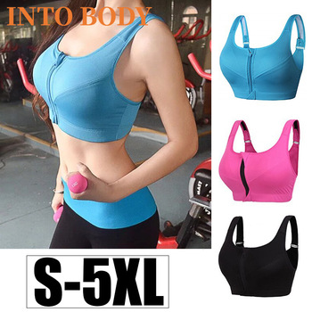 Of Women's Sports Bra Gathered Without Steel Ring Yoga Running Vest Fitness Front Zipper Sexy Shockproof Underwear Plus Size 1