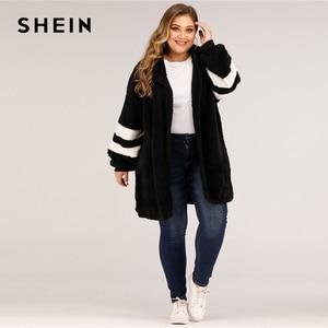 Image 3 - SHEIN artı boyutu Varsity çizgili kapşonlu oyuncak ceket kadınlar sonbahar kış rahat artı Colorblock flanel dış giyim uzun palto