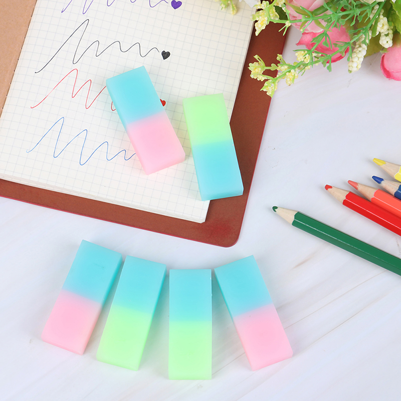 6Pcs Cute Jelly Colored Pencil Rubber Eraser Professional Soft Durable Flexible Cube Office Erasers For School Student Kids