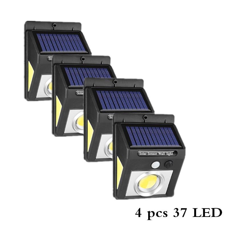 37 светодиодный светильник на солнечной батарее для улицы, трёхсторонний датчик движения PIR, лампа на солнечной батарее, светильник, энергосберегающий садовый декор, настенный светильник s - Испускаемый цвет: 4pcs 37 LED