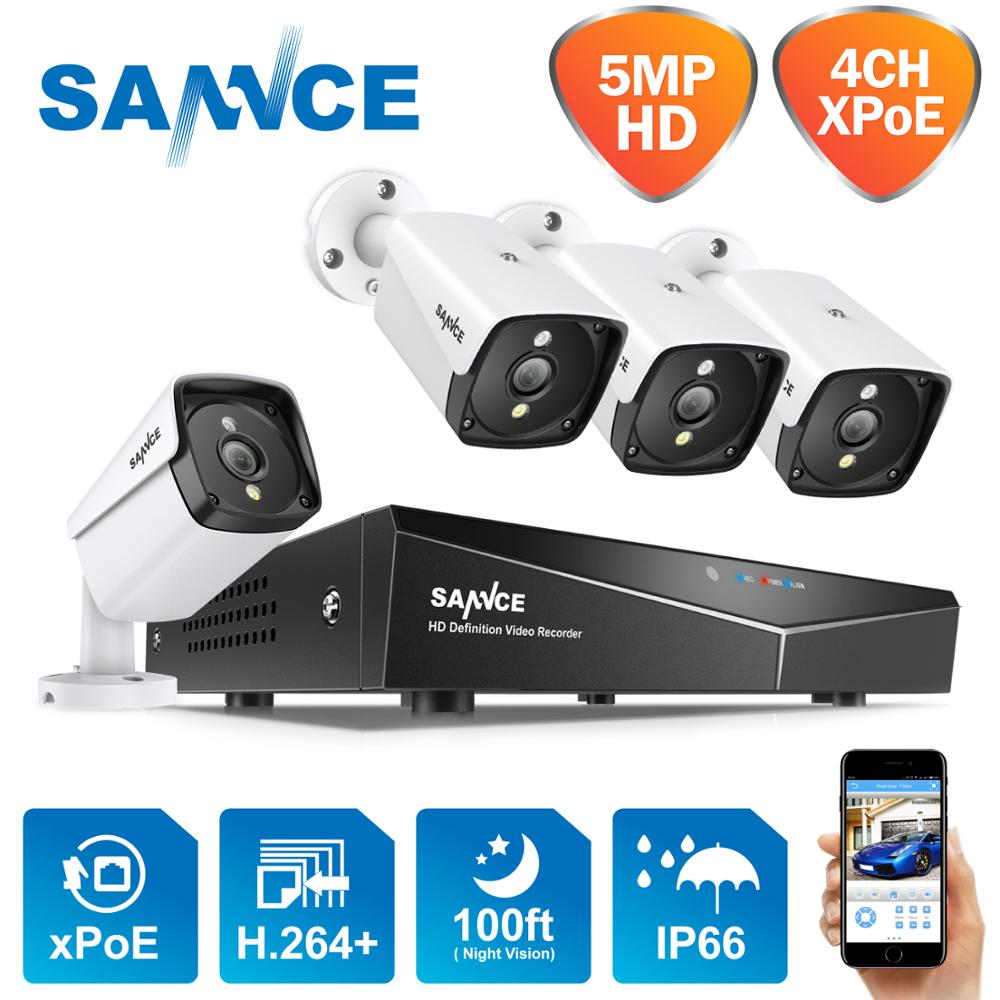 SANNCE 4CH 5MP XPOE Video Security System 5MP Outdoor Waterproof Infrared Night Vision IP Camera Wireless Surveillance CCTV Kit