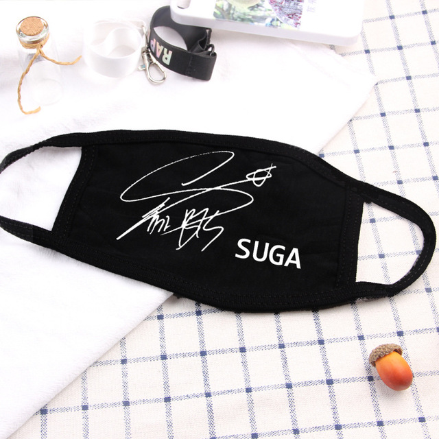 Kpop Mouth Face Mask Dustproof  Idol Signature V Suga Jimin Name Logo  Bangtan Boys for Women Men Unisex Black Masks 3