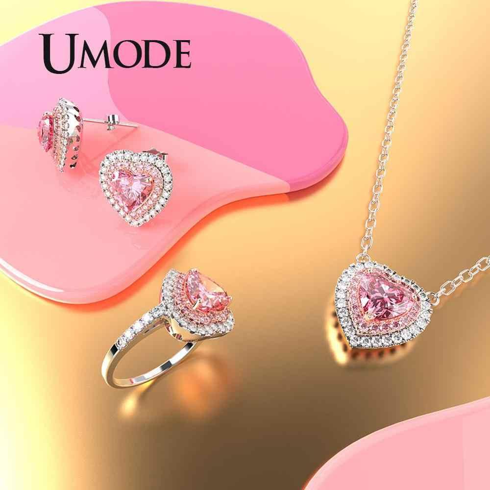 EM MODO DE UTILIZADOR Coração Rosa Nupcial Conjuntos de Jóias De Casamento De Zircão Jóias Da Moda de Luxo Brincos de Cristal Anéis Mulheres Acessórios US0093