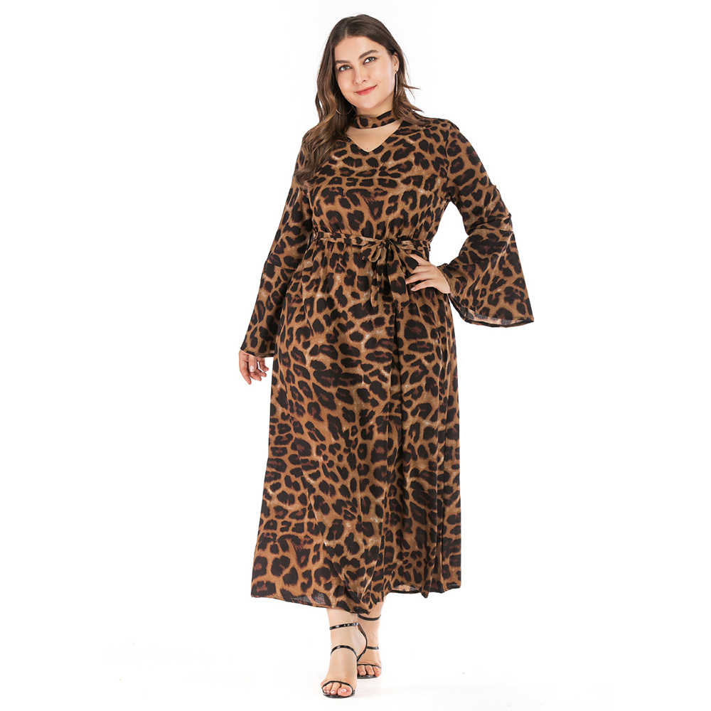 Wipalo 2019 новый плюс Размеры Для женщин Летнее осеннее платье макси с v-образным вырезом и расклешенными рукавами и леопардовым принтом для девочек платье с принтом сексуальное платье трапециевидной формы вечерние платье Vestido