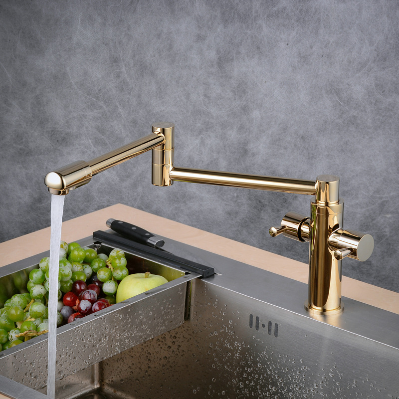 Manufacturers Direct Selling Copper Foldable Tensile Washing Basin Universal Sink Rotating Kitchen Hot And Cold Faucet