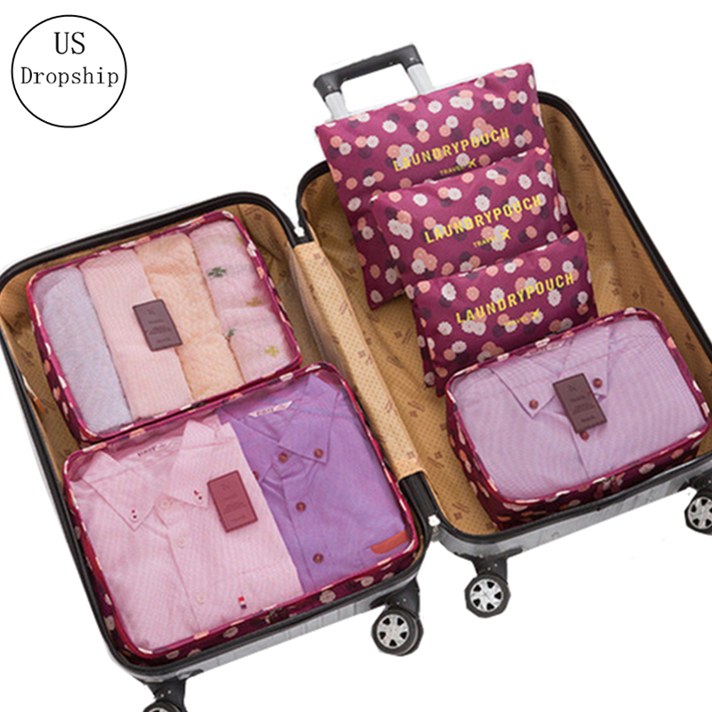 New 6Pcs/set Travel Luggage Storage Bag Suitcase Packing Set Portable Waterproof Clothes Baggage Cube Cases Organizer Bag In Bag