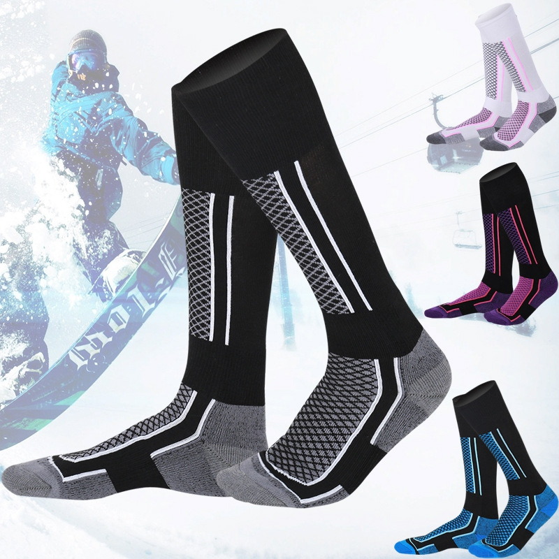 Unisex Women Men Winter Ski Snow Sports Socks Thermal Long Ski Snow Walking Hiking Snowboarding Sports Towel Socks Free Size