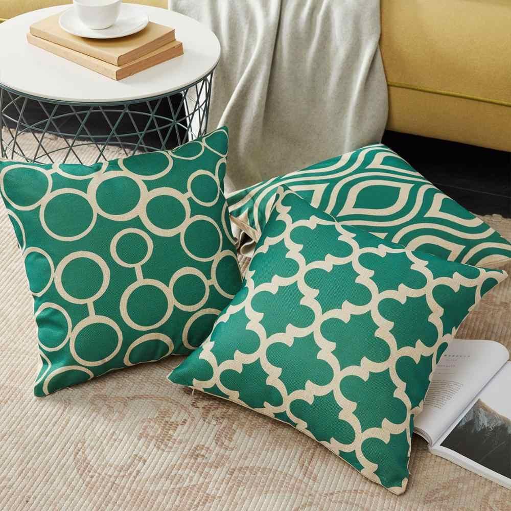 Cubiertas de Teal Topfinel, cojines geométricos de lino y algodón, fundas de cojines para sofá, silla, cama, estilo decorativo escandinavo para el hogar