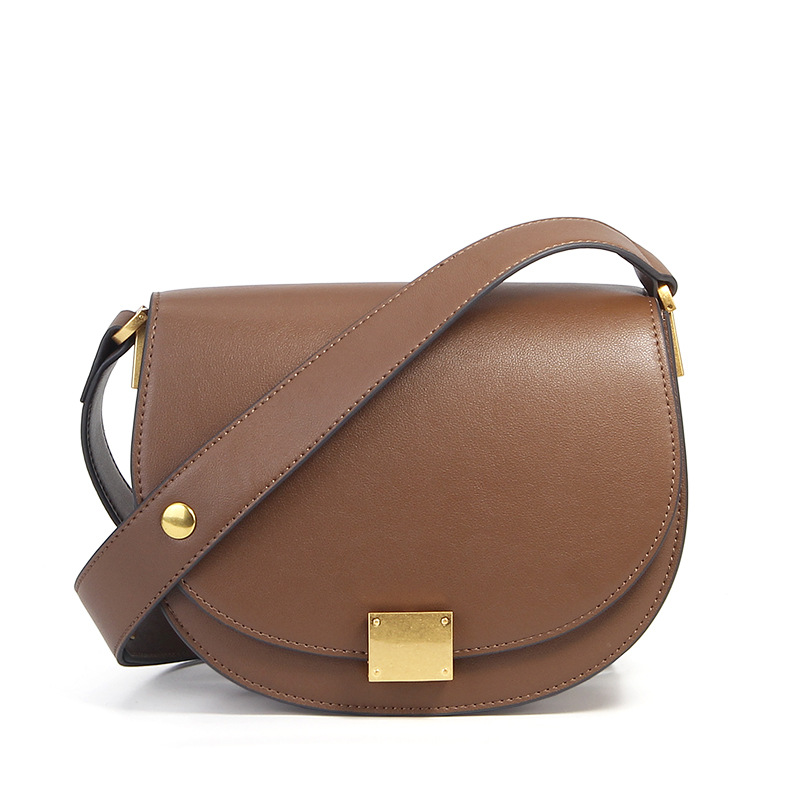 Genuine Leather Women Crossbody Handbag Messenger Bag Cowhide Brown