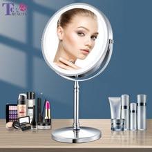 8 Polegada espelho de maquiagem com luz usb carregamento 10x ampliação espelho vaidade retroiluminado ajustável luz em pé espelhos cosméticos