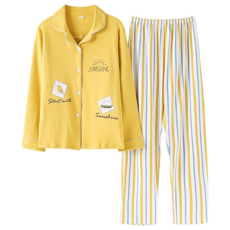 2019 New Women   Pajamas     Sets   100% Cotton Long Sleeve Autumn Winter Sleepwear Cute Ladies Girl Pijamas Mujer Adult Home Clothes