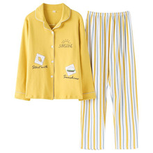 2020 New Women Pajamas Sets 100% Cotton Long Sleeve Autumn Spring Sleepwear Cute Ladies Girl Pijamas Mujer Adult Home Clothes