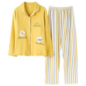 Image 1 - 2020 Nieuwe Vrouwen Pyjama Sets 100% Katoen Lange Mouwen Herfst Lente Nachtkleding Leuke Dames Meisje Pijamas Mujer Volwassen Thuis Kleren