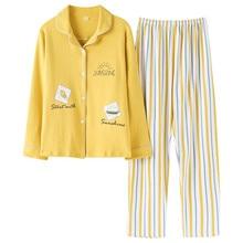 Ensemble pyjama femme, pyjama femme, vêtements de nuit mignon, à manches longues, 2020 coton, collection printemps, pour la maison, nouvelle collection 100%