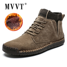 Cow Suede Leather Men Boots Fashion Warm Winter Snow boots Waterproof Shoes Ankle Fur
