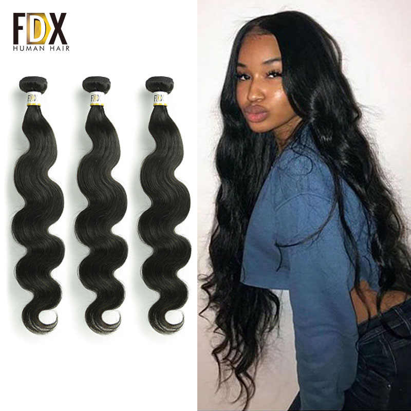 FDX brazilian body wave hair 1/3/4pcs human hair weave 28 30 inch bundles deal natural black color Long Hair extensions Remy
