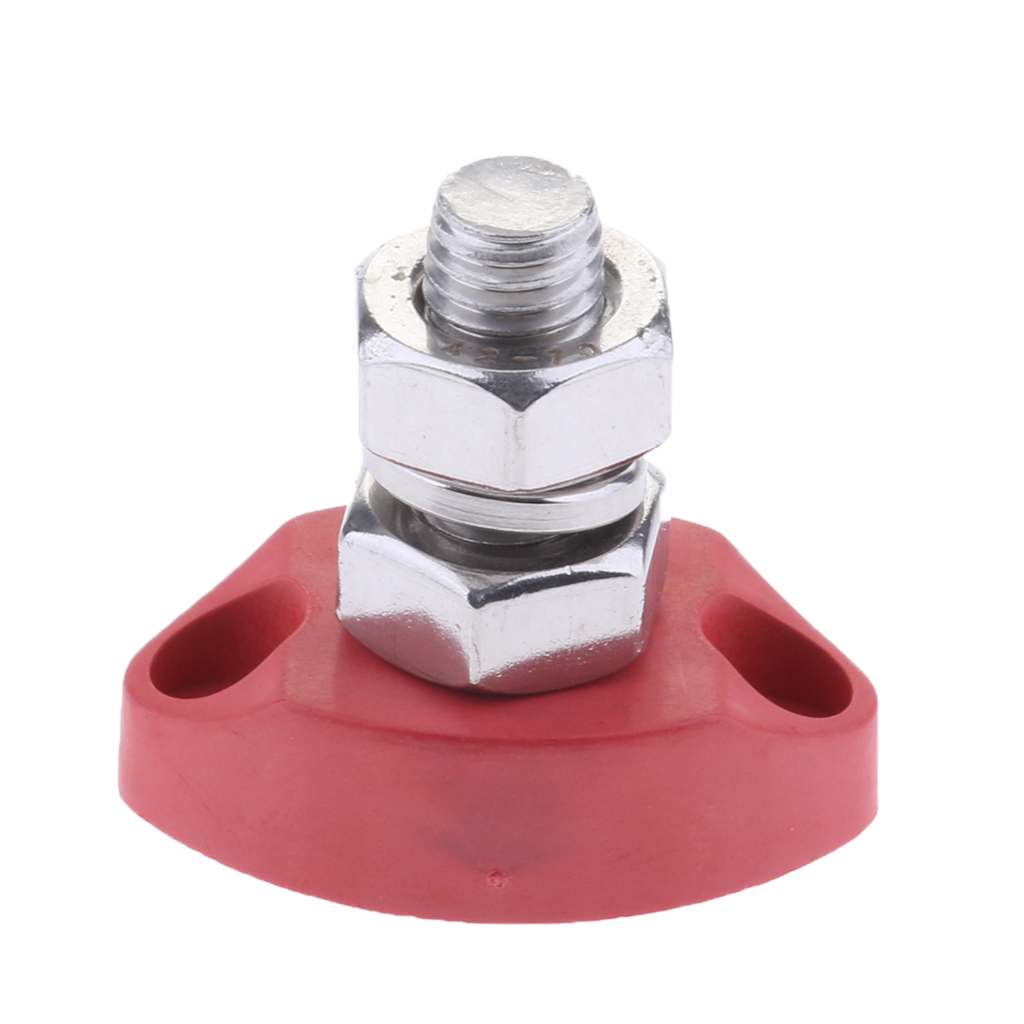 5/16 Inch 8mm Single Stud Junction Post - Heavy Duty Positive Power Distribution Block - Red - Stainless Steel