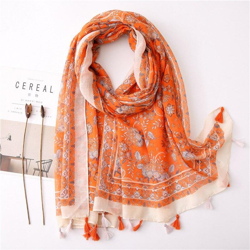 2020 Ethnic Orange Hijab Scarf Women Autumn Winter Long Boho Printed Scarf Warm Large Shawls And Wraps Foulard Femme Cachecol