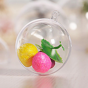 Clear Plastic Craft Ball Acrylic Transparent Hollow Sphere Hanging Decor Bauble Christmas Decoration Baubles Gift image