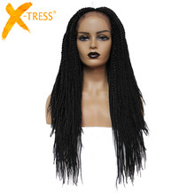 X-TRESS Synthetic Crochet Braiding Wig For Black Women Dreadlock Twist Braid Hairstyle With Baby Hair Long Straight African Wigs(China)