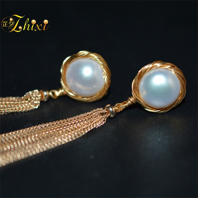 Long Tassel Pearl Earrings 2