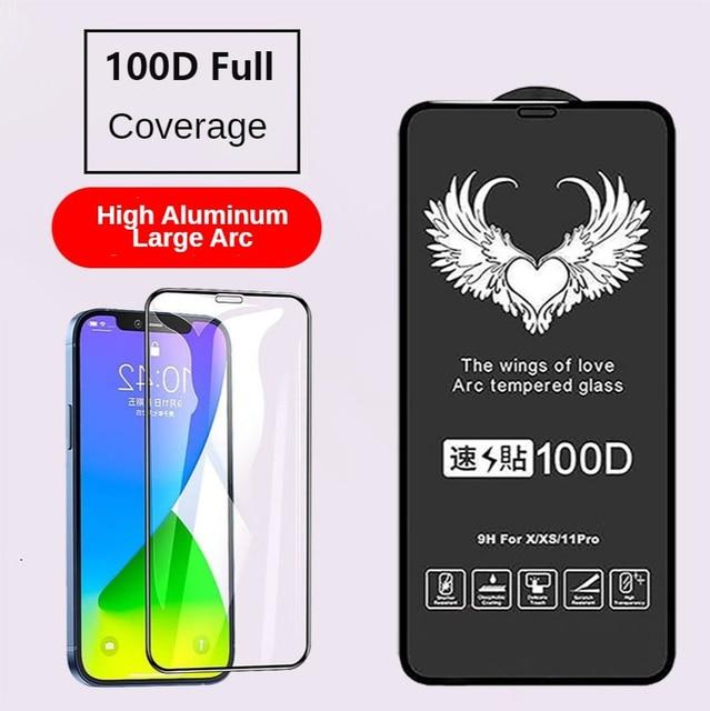 100D גבוהה אלומיניום גדול Arc מלא מסך עבור IPhone 13 12 11Pro 8 7 נייד טלפון מזג זכוכית מסך מגן קרמיקה סרט