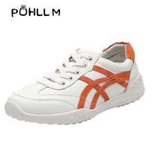 PUHLLM Women Flats Leather Shoes Womens Vulcanize Genuine For Ladies Sneakers Fashion Ultralight B73