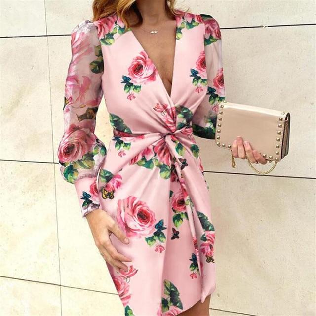 Mesh Sleeve Fashion V-Neck Pleated Elegant dress 1