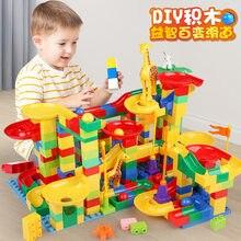 Para animais duploed mármore corrida corrida crianças montessori brinquedos do bebê tamanho grande tijolos blocos de construção funil slide brinquedos educativos