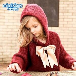 Image 4 - ホット販売ベビーニット弓付きセータートップス春の新作秋かぎ針幼児の子供服セーター