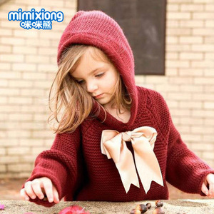 Image 4 - Hot Sale Baby Knitted Bow Hooded Sweater Tops New Spring Autumn Crochet Toddler Kids Clothes Sweater