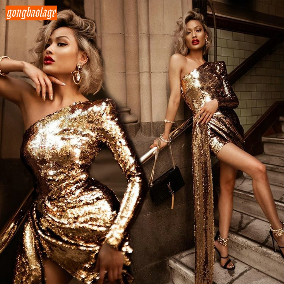 Fashion Gold Prom Dresses Short One Shoulder Bling Bling Sequined Backless Cocktail Party Gowns Long Sleeve In Stock Women Dress