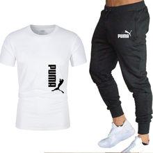 2021 Новое Пума Т-футболка с коротким рукавом для мужчин с укороченными рукавами, 100% хлопок, рубашка мужские весенние туфли в стиле Харадзюку ...