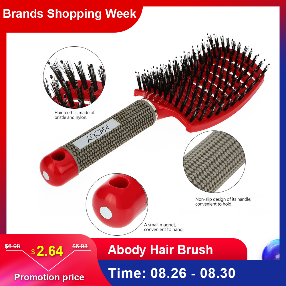 Abody Hair Brush Bristle Nylon Hairbrush Hair Combs Detangle Women Curly Scalp Massage Comb For Salon Hairdressing Styling Tools