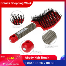 Abody Hair Brush Bristle Nylon Hairbrush Hair Combs Detangle Women Curly Scalp Massage Comb for Salon Hairdressing Styling Tools(China)