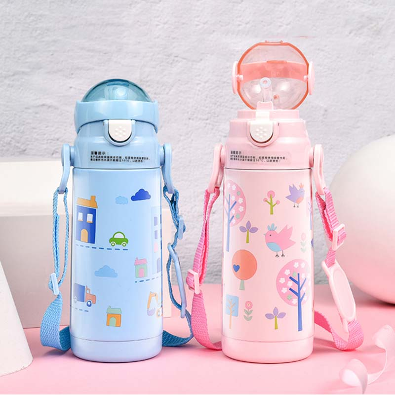 400ml <font><b>Baby</b></font> Cartoon Straw Feeding Cup Stainless Steel Milk Thermos for Children Insulated Hot Water Bottle Leak-<font><b>poof</b></font> Thermal Cup image