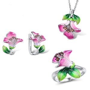 2019 High Quality Two colors pink purple Enamel Ring Flower Pendant Earring Cloisonne Filigree Craft Earring Set jewelry(China)