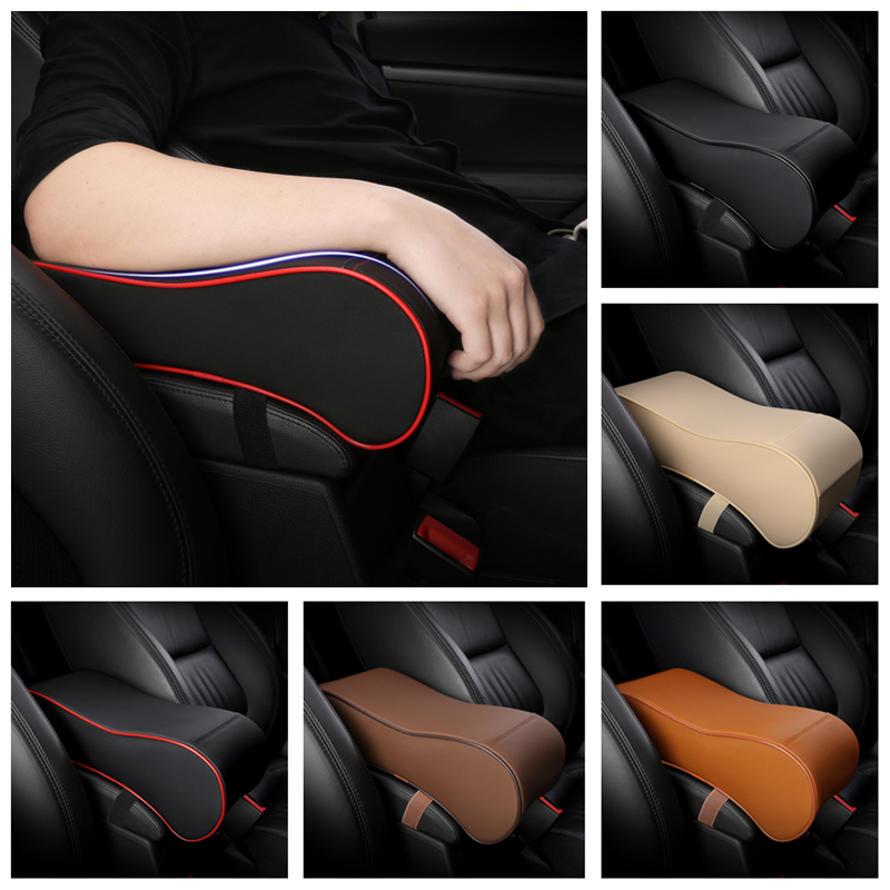 PU Leather Soft Memory Foam Car Armrest Box Cushion Arm Support Rest Universal Auto Seat Center Armrest Extender Heighten Pad