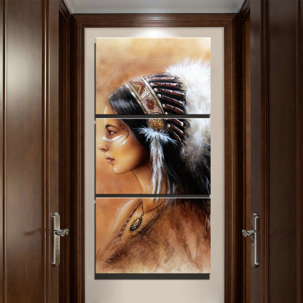 Retro-Home-Decoration-Canvas-Painting-Feathered-Native-American-Indian-Girl-Wall-Art-For-Living-Room-Poster (1)