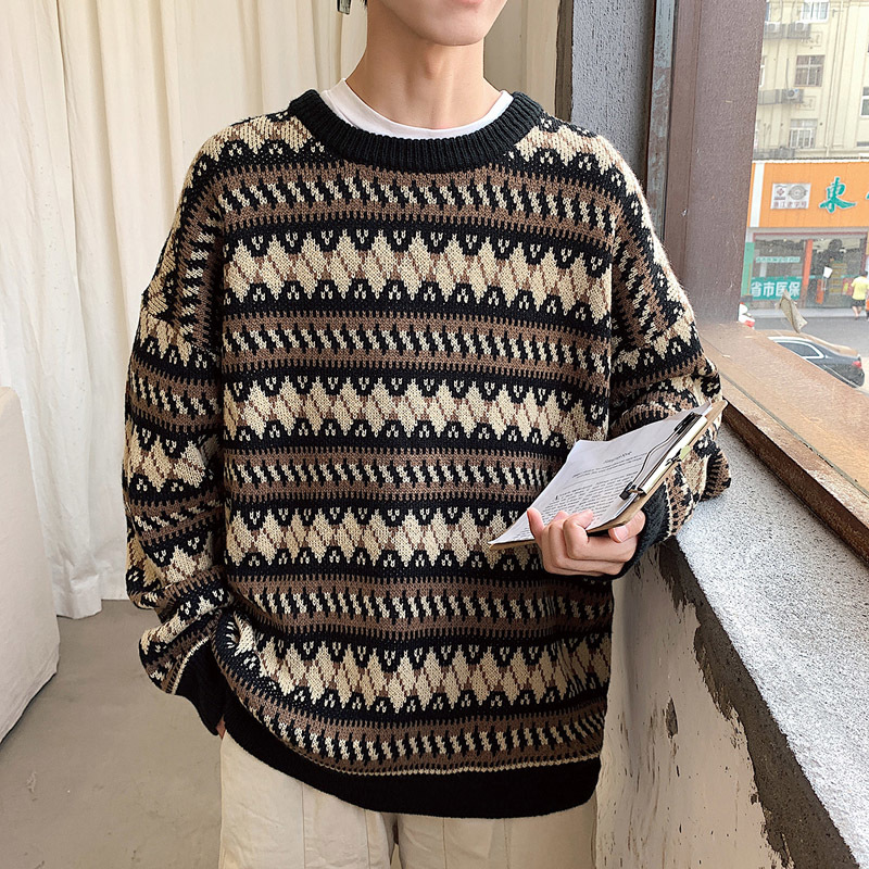 UYUK2019 Autumn And Winter New Round Neck Jacquard Striped Embroidery Handsome Trend Couple Knitted Sweater Clothes Homme