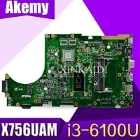 X756UAM  Laptop motherboard for ASUS X756UAK X756U X756UA X756UWK X756UV X756UXM mainboard  i3-6100U
